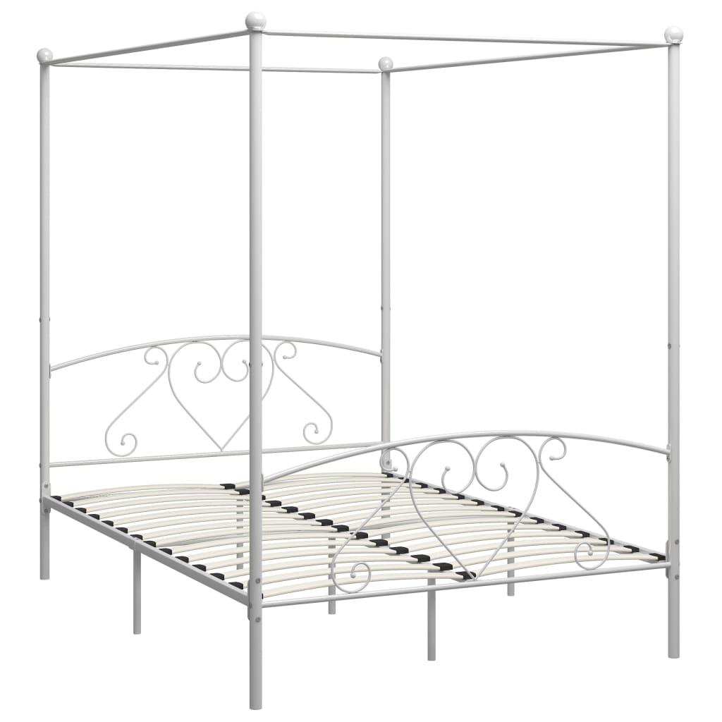 Cadru de pat cu baldachin, alb, 140 x 200 cm, metal