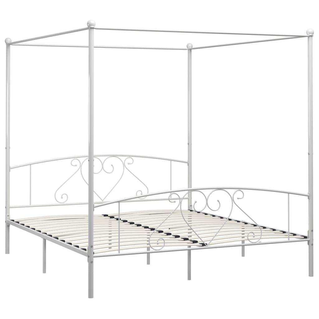 Cadru de pat cu baldachin, alb, 180 x 200 cm, metal