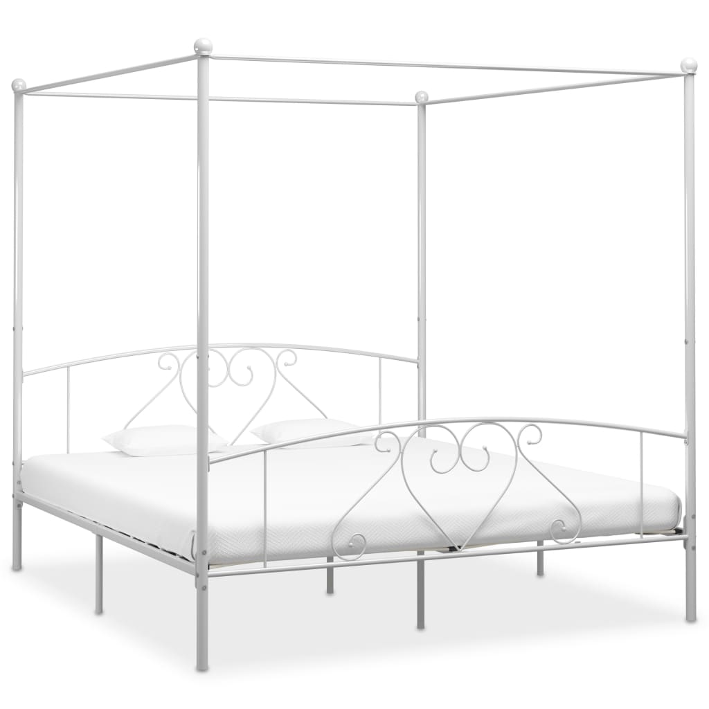 vidaXL Cadru de pat cu baldachin, alb, 200 x 200 cm, metal
