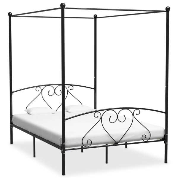 vidaXL Cadru de pat cu baldachin, negru, 160 x 200 cm, metal
