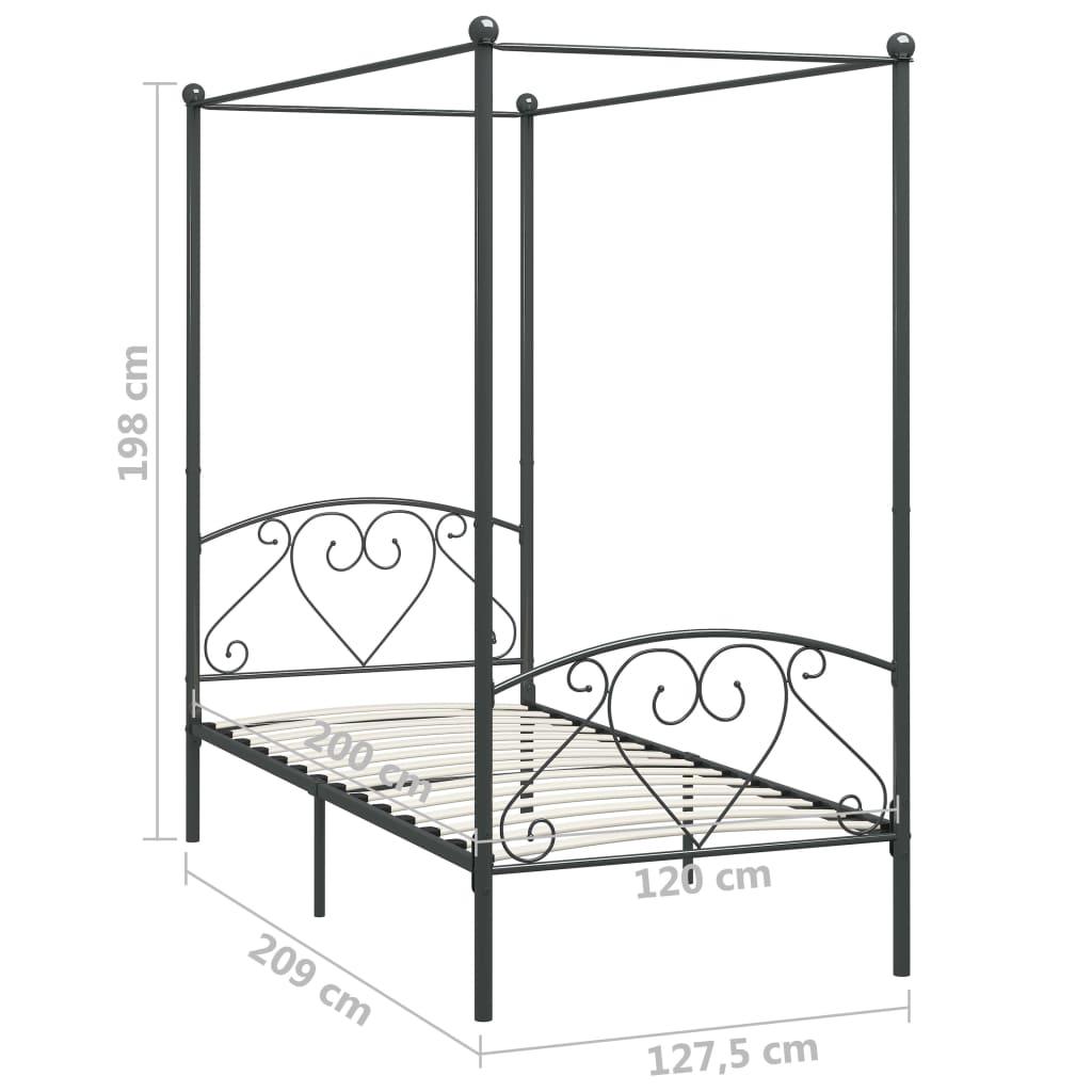 Cadru de pat cu baldachin, gri, 120 x 200 cm, metal