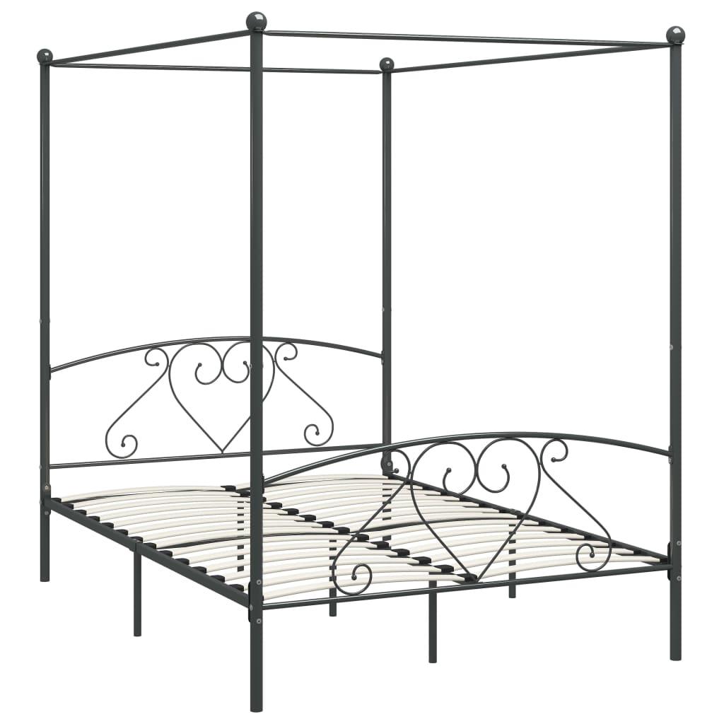 Cadru de pat cu baldachin, gri, 160 x 200 cm, metal