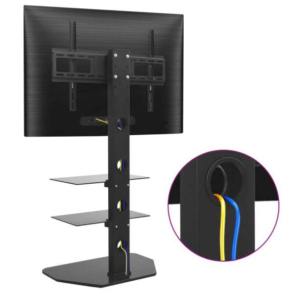 vidaXL Suport TV de podea pivotant 32″-70″, cu 2 rafturi