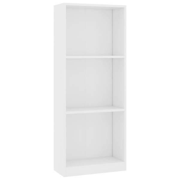 vidaXL Bibliotecă cu 3 rafturi, alb, 40 x 24 x 108 cm, PAL