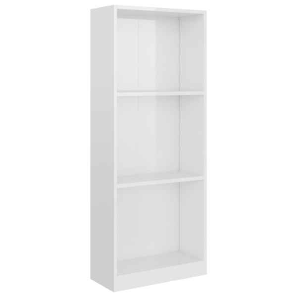 Bibliotecă cu 3 rafturi, alb lucios, 40 x 24 x 108 cm, PAL
