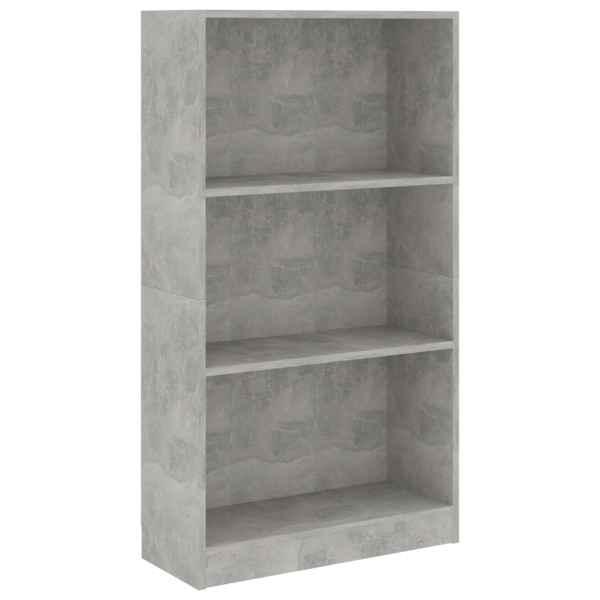 Bibliotecă cu 3 rafturi, gri beton, 60 x 24 x 108 cm, PAL