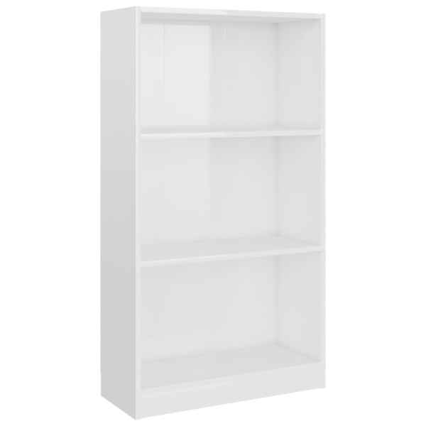 Bibliotecă cu 3 rafturi, alb extralucios, 60 x 24 x 108 cm, PAL