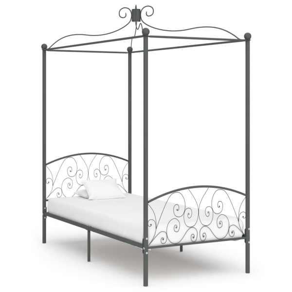 vidaXL Cadru de pat cu baldachin, gri, 90 x 200 cm, metal