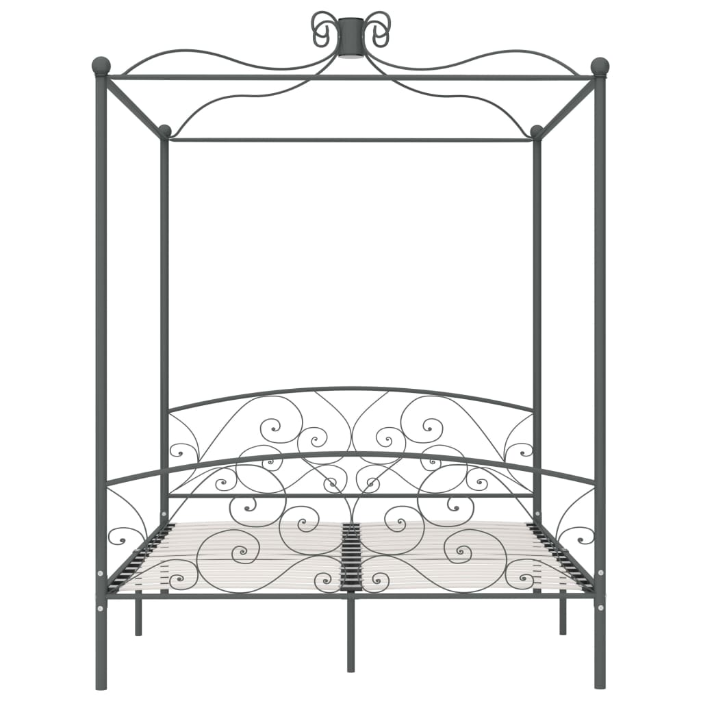 Cadru de pat cu baldachin, gri, 180 x 200 cm, metal