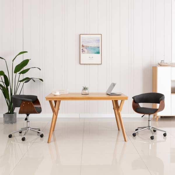 vidaXL Scaun de birou pivotant, gri, lemn curbat și material textil
