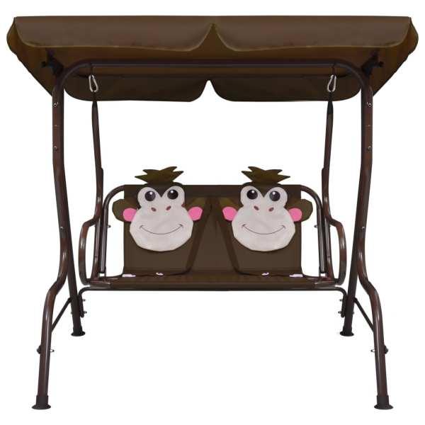 Balansoar pentru copii, maro, 115 x 75 x 110 cm, textil