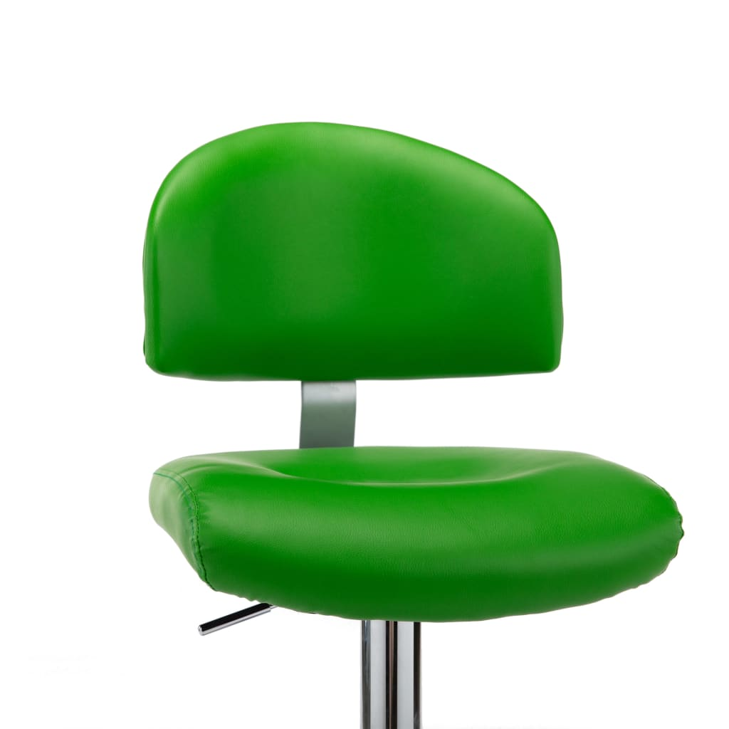 Scaune de bar, 2 buc., verde, piele ecologică