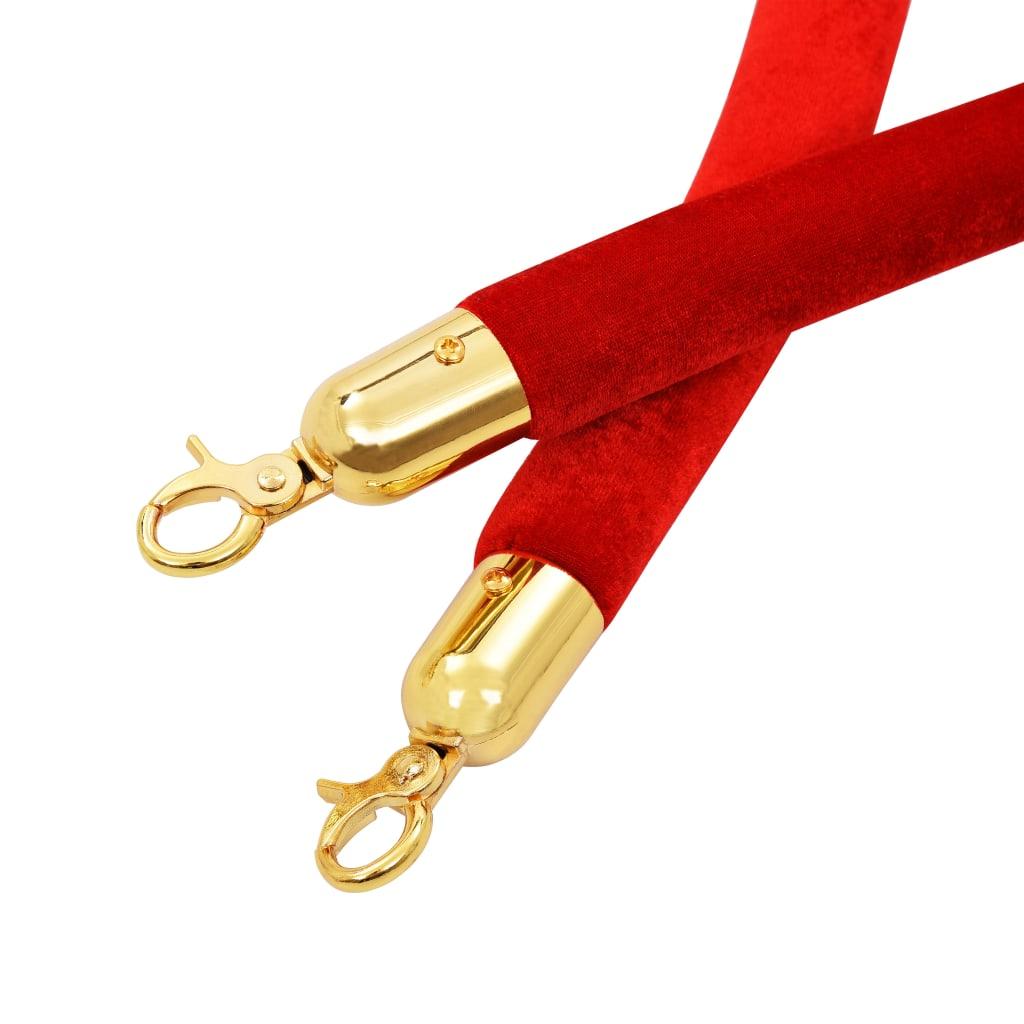 Cordon de delimitare pentru stâlpi, roșu și auriu, catifea