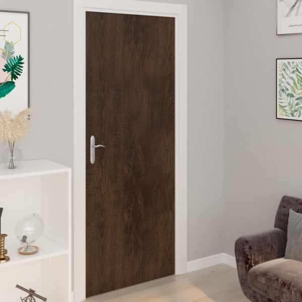 vidaXL Folii de ușă autoadezive, 2 buc., stejar închis, 210×90 cm, PVC