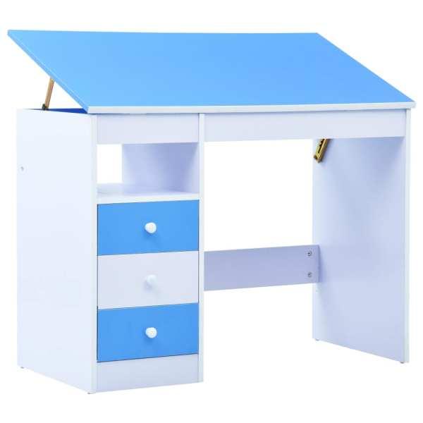 vidaXL Birou de studiu & desenat pentru copii rabatabil albastru & alb