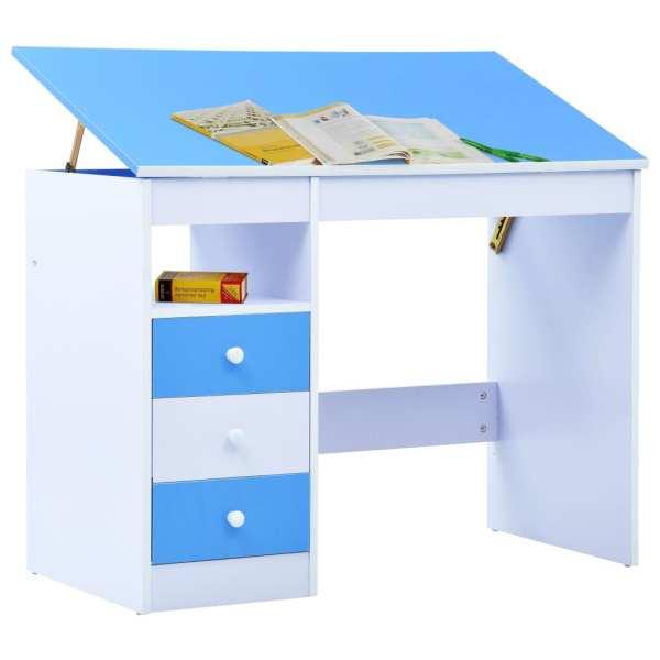 Birou de studiu & desenat pentru copii rabatabil albastru & alb