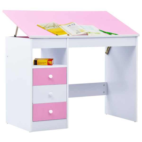 vidaXL Birou de studiu & desenat pentru copii rabatabil, roz și alb