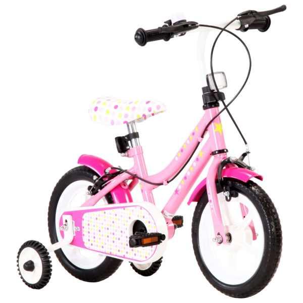vidaXL Bicicletă pentru copii, alb și roz, 12 inci