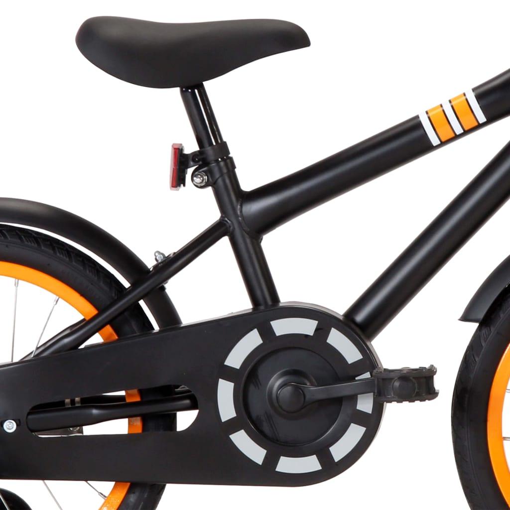 vidaXL Bicicletă copii cu suport frontal, negru și portocaliu, 16 inci