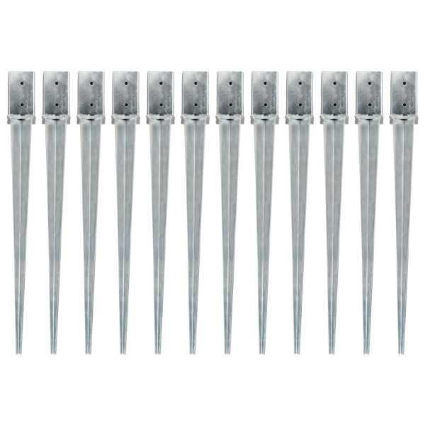 vidaXL Țăruși de sol, 12 buc., argintiu, 8x8x91 cm, oțel galvanizat