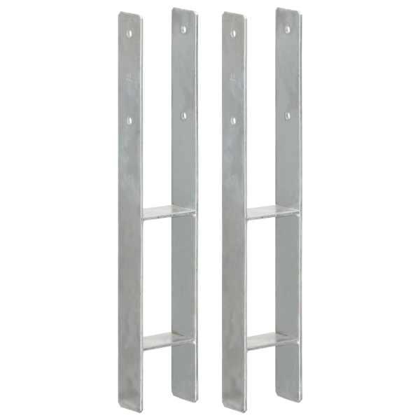 vidaXL Ancore de gard, 2 buc., argintiu, 9x6x60 cm, oțel galvanizat