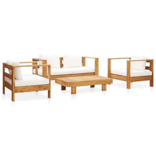 vidaXL Set mobilier grădină cu perne, 4 piese, crem, lemn masiv acacia