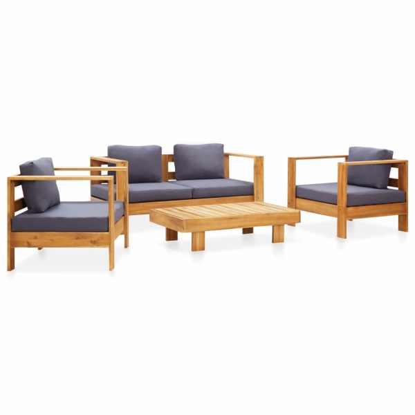 vidaXL Set mobilier grădină cu perne, 4 piese, gri, lemn masiv acacia