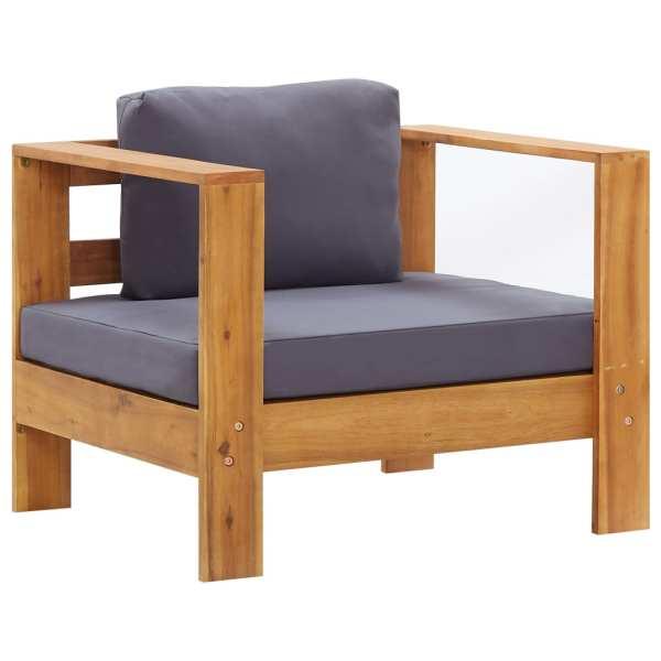 Set mobilier grădină cu perne, 4 piese, gri, lemn masiv acacia