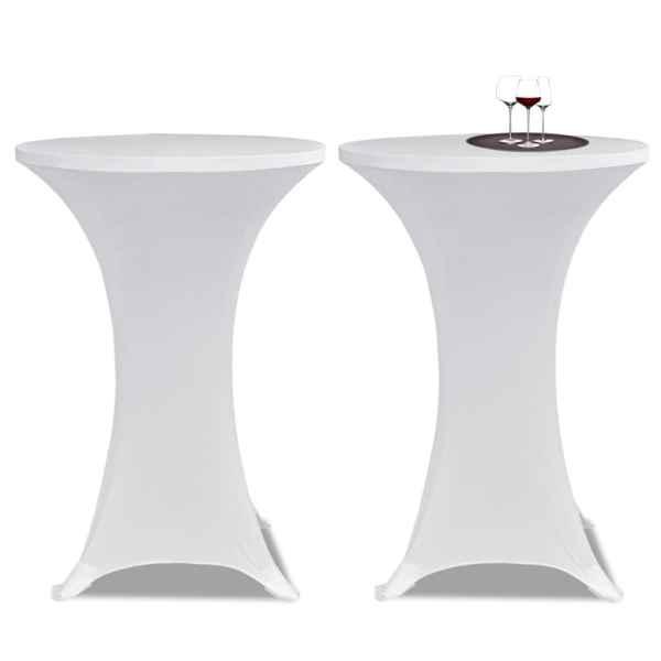 Husă de masă cu picior Ø60 cm, 4 buc., alb, elastic