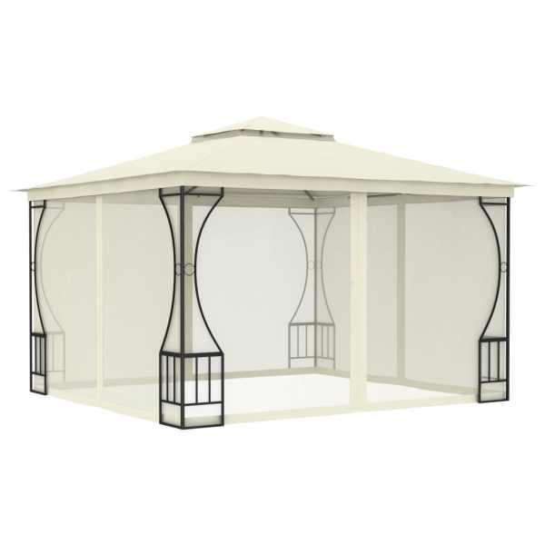 vidaXL Pavilion cu perdele, crem, 300 x 300 x 265 cm