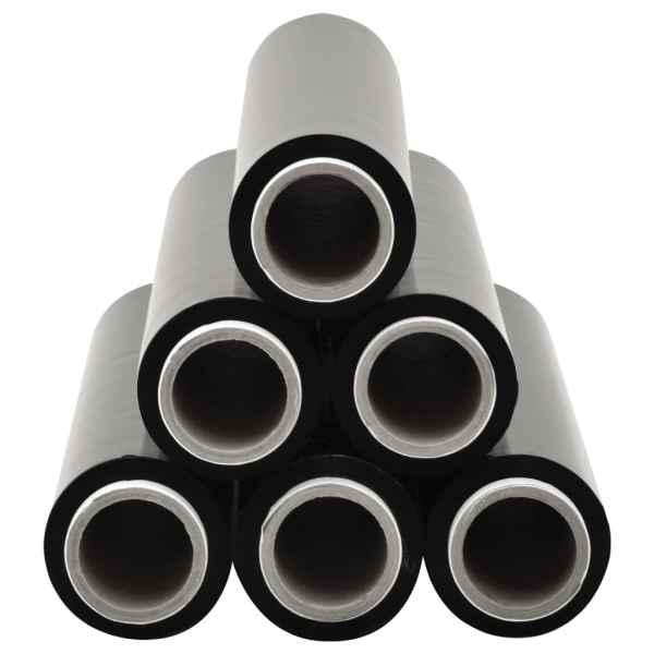 Role de folie pentru paleți, 6 buc., negru, 20 µm, 720 m