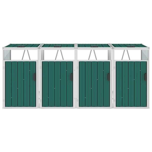 vidaXL Magazie pubele cvadruplă, verde, 286 x 81 x 121 cm, oțel