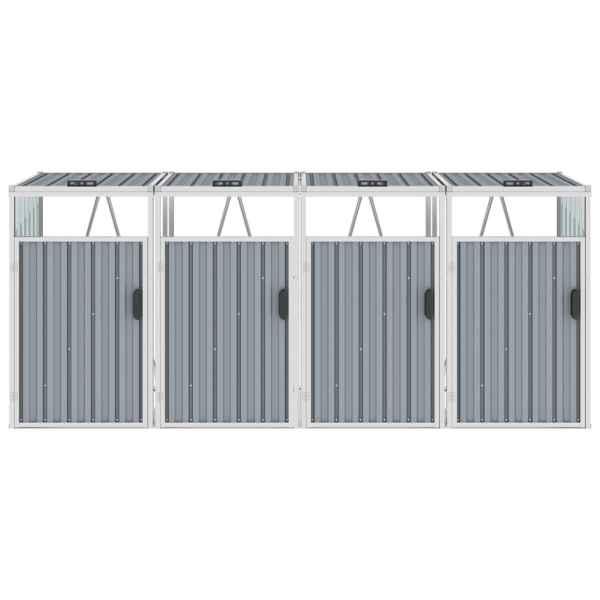 Magazie pubele cvadruplă, gri, 286 x 81 x 121 cm, oțel