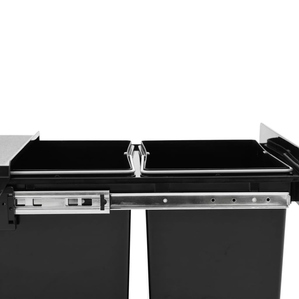 vidaXL Coș gunoi retractabil dulap de bucătărie închidere lentă, 36 L