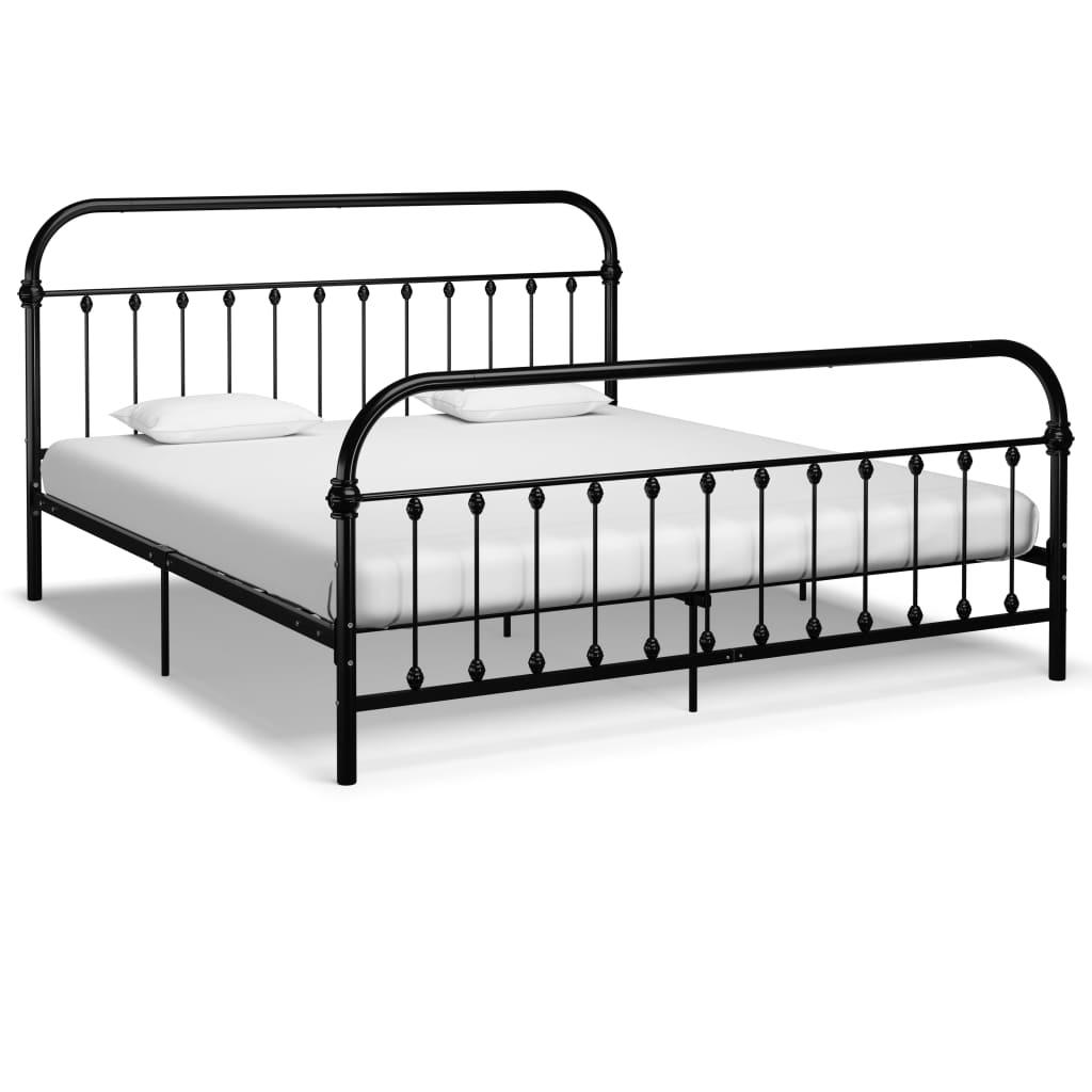 vidaXL Cadru de pat, negru, 180 x 200 cm, metal