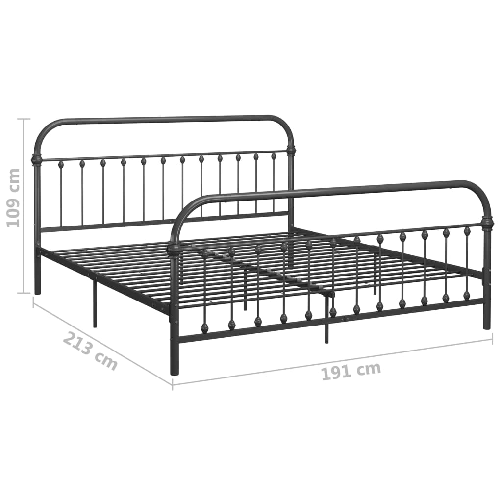 Cadru de pat, gri, 180 x 200 cm, metal
