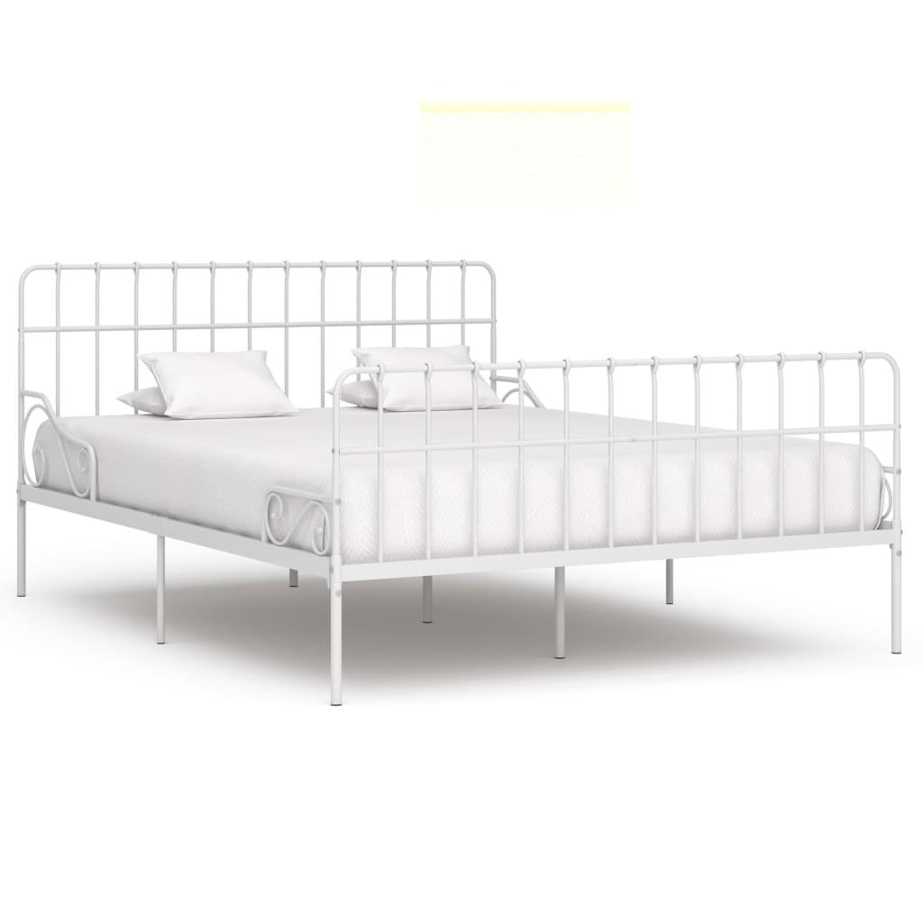 vidaXL Cadru de pat cu bază din șipci, alb, 180 x 200 cm, metal