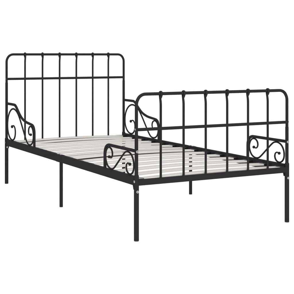 Cadru de pat cu bază din șipci, negru, 100 x 200 cm, metal
