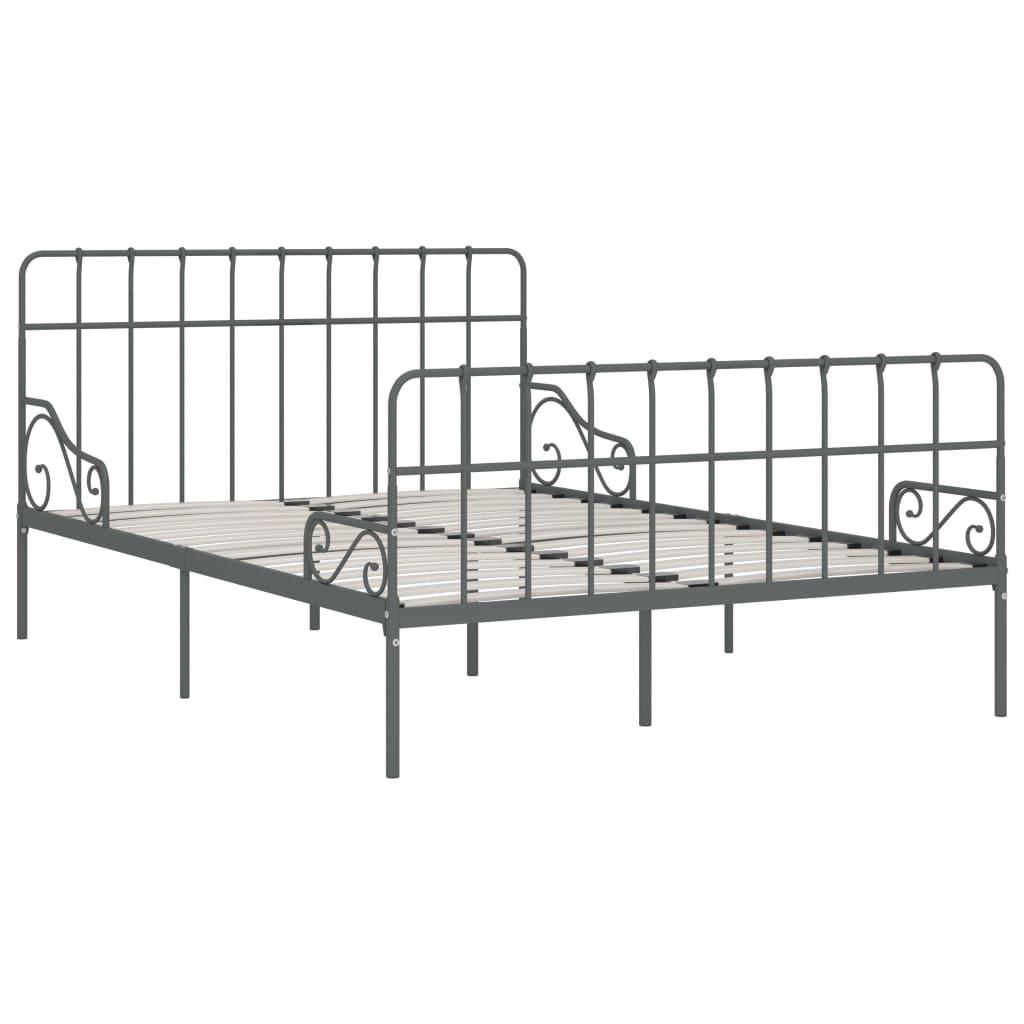 Cadru de pat cu bază din șipci, gri, 120 x 200 cm, metal