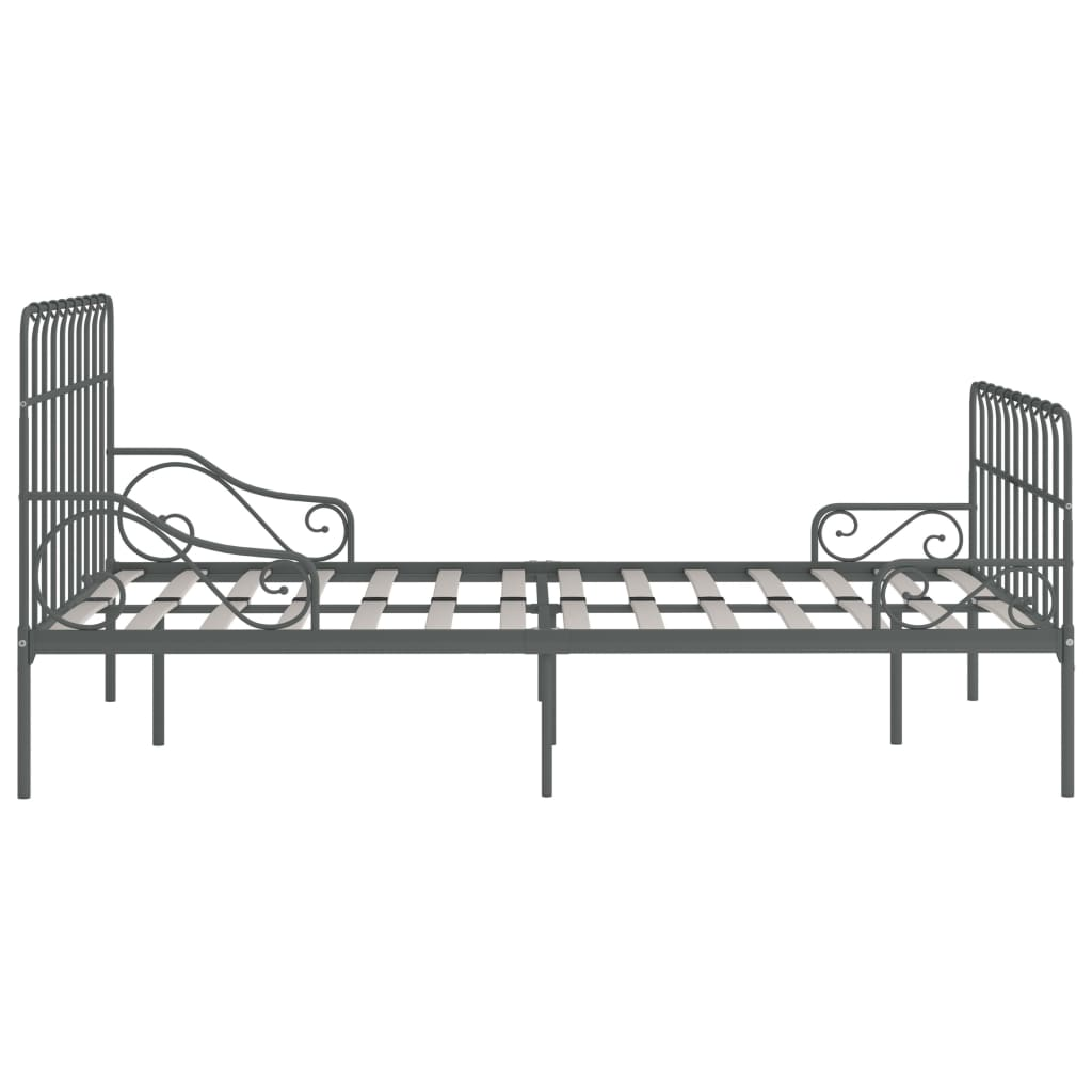 Cadru de pat cu bază din șipci, gri, 140 x 200 cm, metal