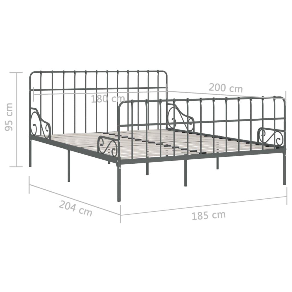 Cadru de pat cu bază din șipci, gri, 180 x 200 cm, metal