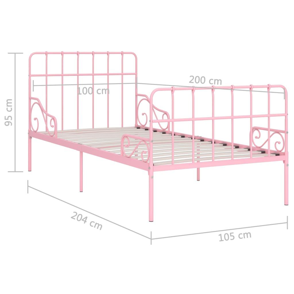 Cadru de pat cu bază din șipci, roz, 100 x 200 cm, metal