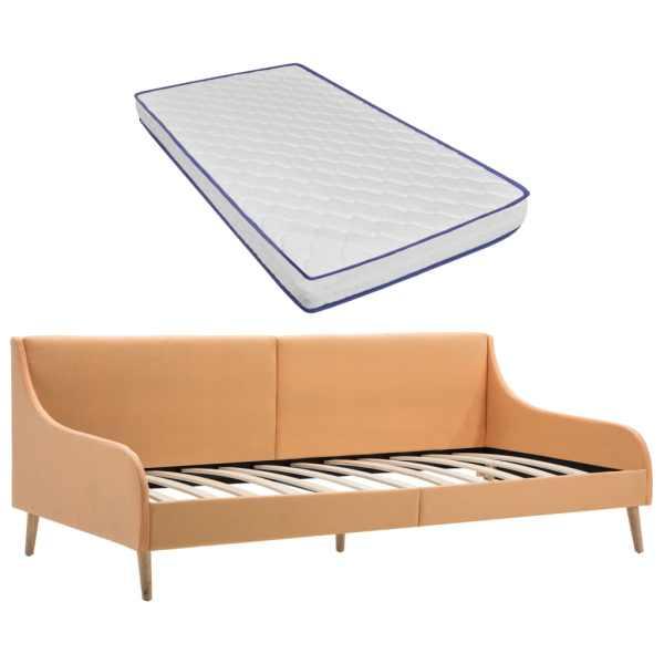 vidaXL Cadru pat de zi cu saltea spumă cu memorie, portocaliu, textil