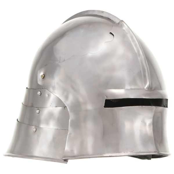 vidaXL Coif cavaler medieval, antichizat, joc de rol, argintiu, oțel