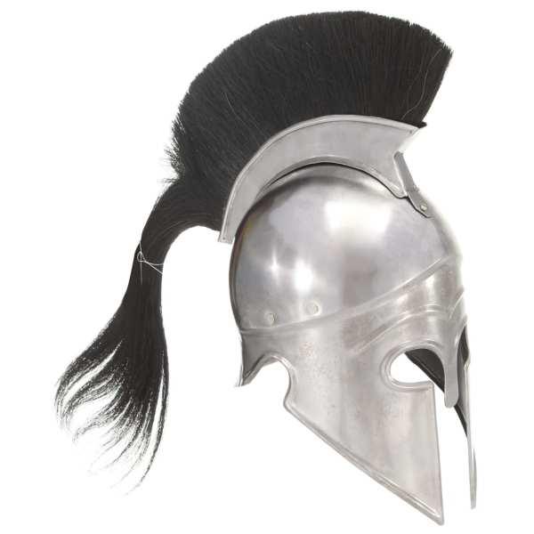 vidaXL Coif războinic grec, aspect antic, joc de rol, argintiu, oțel