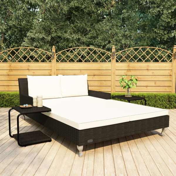 vidaXL Pat de soare grădină 2 persoane, cu perne, negru, poliratan