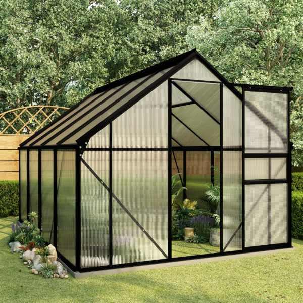 vidaXL Seră cu cadru de bază, antracit, 4,75 m², aluminiu