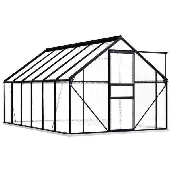 Seră cu cadru de bază, antracit, 7,03 m², aluminiu