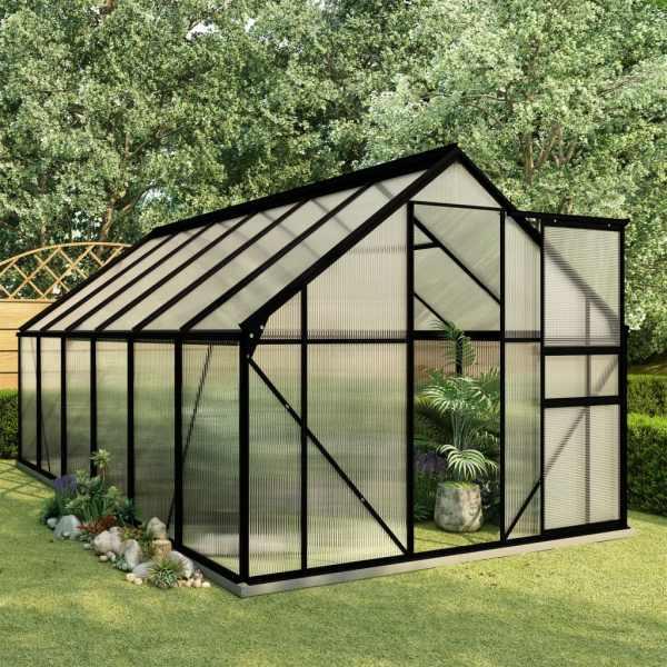 vidaXL Seră cu cadru de bază, antracit, 7,03 m², aluminiu