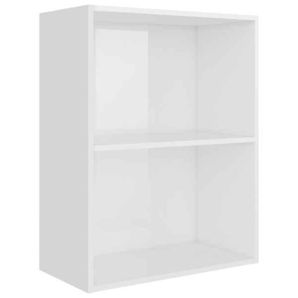 Bibliotecă cu 2 rafturi, alb extralucios, 60x30x76,5 cm, PAL